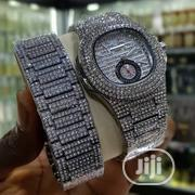 Keepmoving Iced Stoned Silver Watch With Bracelet | Jewelry for sale in Lagos State, Lagos Island