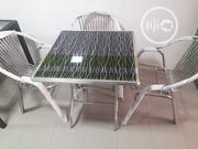 Glass Top/Stainless Leg Garden Table With Three Chairs | Furniture for sale in Lagos State, Ajah