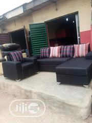 L-shaped Sofa Fabric With Singles In Black | Furniture for sale in Lagos State, Lagos Island