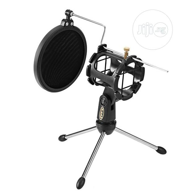Archive: Microphone Stand With Windscreen Filter Adjustable Desktop Tripod