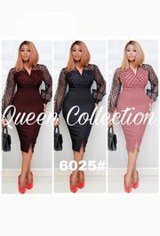 Quality Female Fitted Net Long Sleeve Gown | Clothing for sale in Lagos State, Ojodu