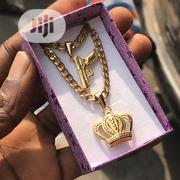 Pure Steel Cuban Neckchain With Gun and Crown Pendant | Jewelry for sale in Lagos State, Lagos Island