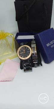 Men's Luminous Rose-gold Stainless Steel Watch & Bracelet Set | Jewelry for sale in Lagos State, Victoria Island
