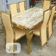High Quality Gold Marble Dining Table With 6 Chairs | Furniture for sale in Lagos State, Ikeja