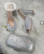 Liliana Silver Purse With Blockheel Shoe | Shoes for sale in Lagos State, Lagos Island