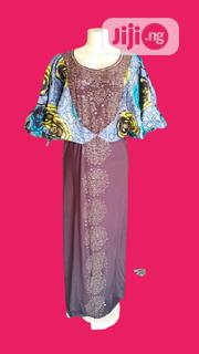 Senegalese Lycra With Ankara Cape Sleeve Short Gown | Clothing for sale in Lagos State, Ikeja