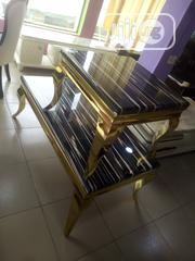 A Set Of Golden Table With 2 Side Stools | Furniture for sale in Lagos State, Ikorodu