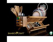 The Bamboo Craft Company Foldable Bamboo Dish Rack Plus Utensil Caddy | Kitchen & Dining for sale in Lagos State, Lagos Island