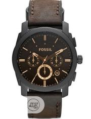 New Fossil Chronograph Brown Leather Wristwatch / Wrist Watch | Watches for sale in Lagos State, Ikeja