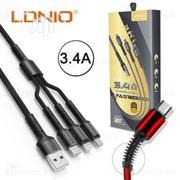 LDNIO LC93 3.4A 3IN1 Lightning iPhone, USB Android And Type-c Cable | Accessories for Mobile Phones & Tablets for sale in Lagos State, Ikeja