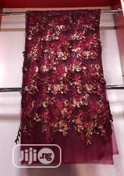 Wine Velvetine Lace Material   Clothing for sale in Lagos State, Ojo