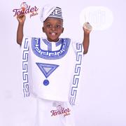 White Boys Agbada With Royal Blue Embroidery | Children's Clothing for sale in Lagos State, Ojodu