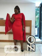 Red Dress With Chiffon Cape Like Sleeves . Brand :Turkey | Clothing for sale in Abuja (FCT) State, Central Business District