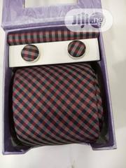 Set of Brown Checked Designers Tie With Cufflinks | Clothing Accessories for sale in Lagos State, Victoria Island