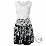 Black And White Lace And Silk Blend Midi Gown | Clothing for sale in Abuja (FCT) State, Utako