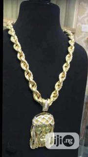 Pure Gold 18karat Duckchain With Jesus Head Pendant Is Available   Jewelry for sale in Lagos State, Yaba