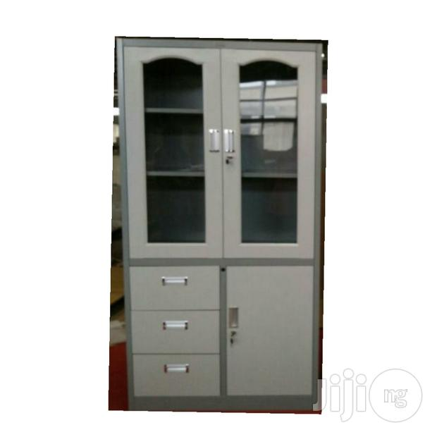 Metal Glass Cabinet With 3 Drawers