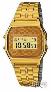 Casio Men's Vintage Gold Tone Chronograph Alarm LCD Digital Watch | Watches for sale in Abuja (FCT) State, Gwagwalada