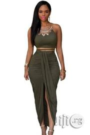 Bodycon Olive Faux Suede | Clothing for sale in Rivers State, Port-Harcourt