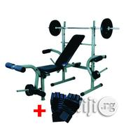 American Fitness Weight Bench With 50kg Barbell Weight | Sports Equipment for sale in Lagos State, Surulere
