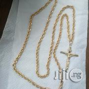 Tested 18karat Gold Necklace Twisted Design Wit Crucifix Pendant | Jewelry for sale in Lagos State, Lagos Island