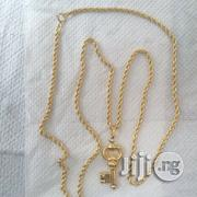 Brand New ITALY 750 Gold Necklace Twist Wi Key Pendant | Jewelry for sale in Lagos State, Lagos Island