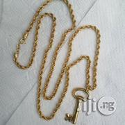 Brand New ITALY 750 Pure 18kt Necklace Twisted Design With Key Pendant | Jewelry for sale in Lagos State, Lagos Island