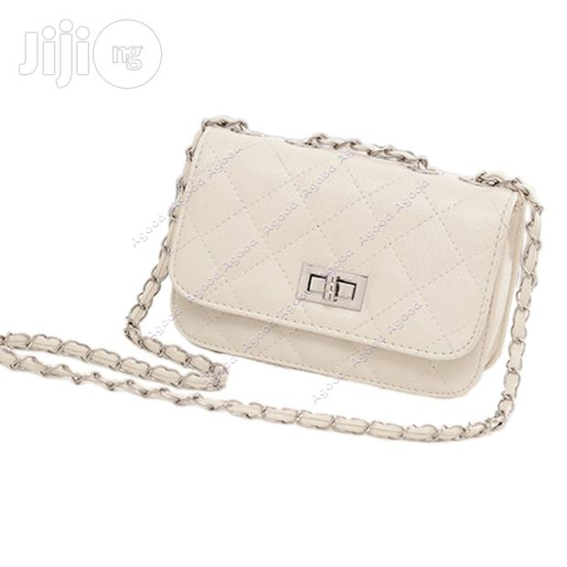 Women's Leather Cute Mini Chain Shoulder Purse Bag - White
